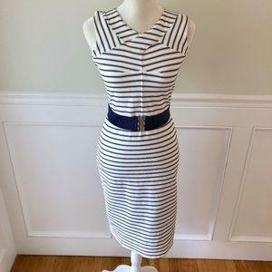 ANN TAYLOR Belted Nautical Stripe Sheath Dress 2